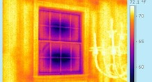 infrared imaging showing air leaks in windows