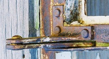 rusted window hinges