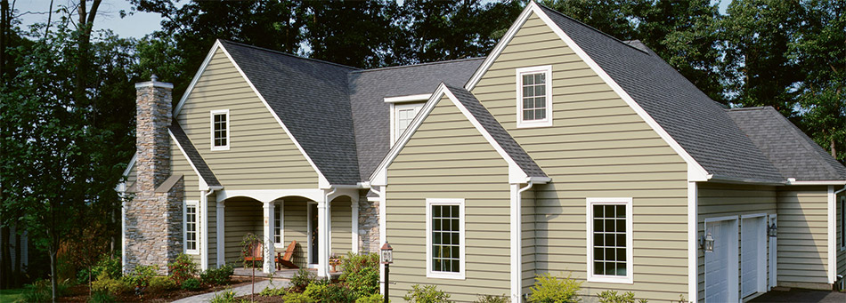 tan vinyl siding house exterior