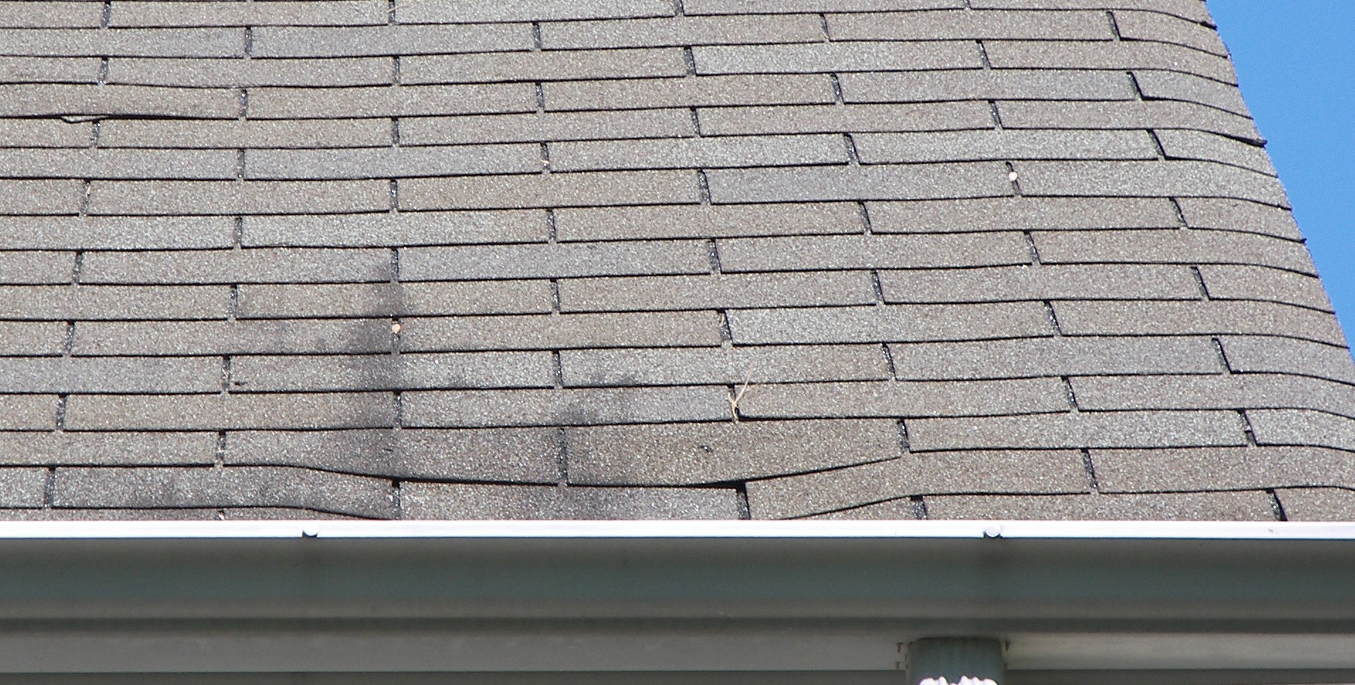 three tab shingles caving in failing roof substrate