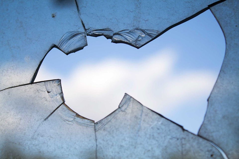 closeup of broken window glass
