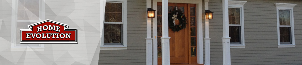 brown vinyl siding house front door