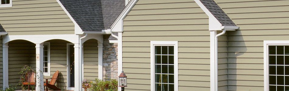tan vinyl siding white trim