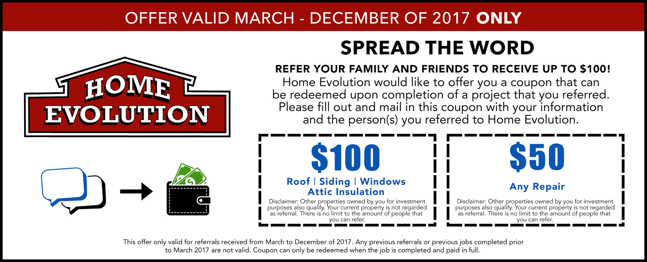 Home Evolution customer referral coupon front