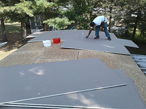 installing ISO board on flat roof