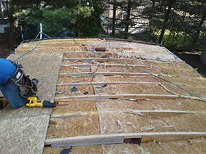 plywood and ISO insulation board on roof
