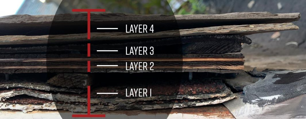 multiple layers of roof shingles