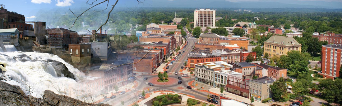 arial view of downtown Glens Falls, NY as well as the falls