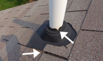 cracked vent pipe boot on roof